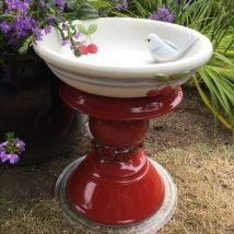 Diy Birdbath Projects 9 214x214 - 30+ Cute DIY Bird Bath Ideas To Enhance Your Garden